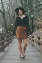 black thrifted top - burnt orange thrifted skirt