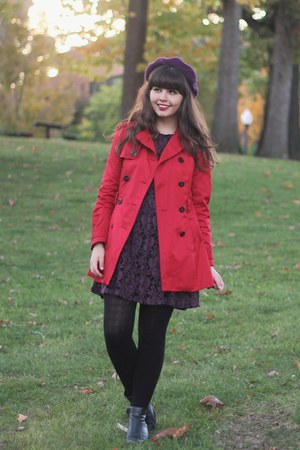 ruby red Forever21 jacket - black thrifted boots - deep purple Forever21 dress