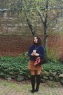 Navy-thrifted-sweater-red-christian-dior-scarf-dark-brown-thrifted-skirt