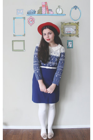 ruby red thrifted hat - navy OASAP shirt - blue thrifted skirt