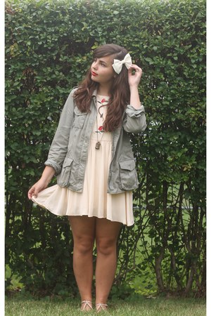 neutral OASAP dress - army green thrifted jacket