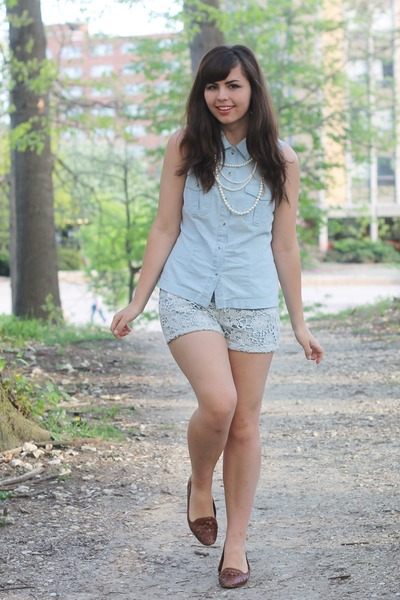periwinkle thrifted shirt - periwinkle Aeropostale shorts