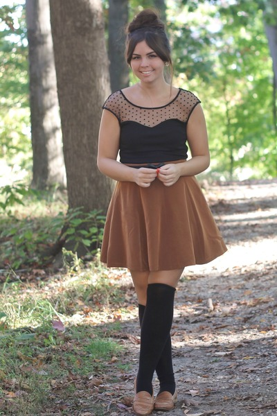 black TJMaxx dress - black H&M socks - light brown Forever21 skirt