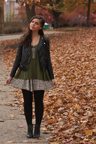 black H&M boots - black H&M jacket - army green LuLus shirt - tan thrifted skirt