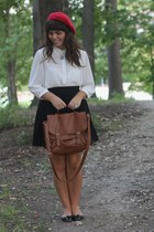 white Forever21 blouse - red Target hat - brown Forever21 purse