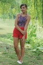 Deep-purple-aeropostale-shirt-ruby-red-thrifted-shorts-ivory-forever21-flats