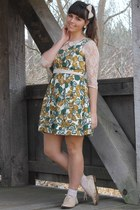dark green Forever21 dress - beige Forever21 dress - beige Forever21 flats
