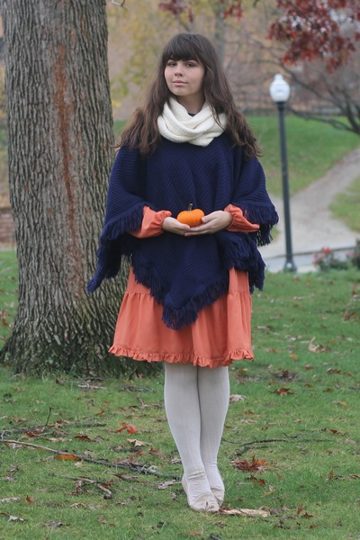 navy thrifted cape - carrot orange modcloth dress