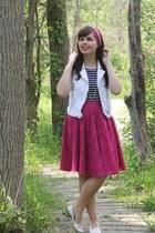 hot pink forever21 skirt - white Aeropostale vest