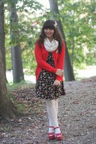 red Old Navy cardigan - black Forever21 dress - cream Target scarf