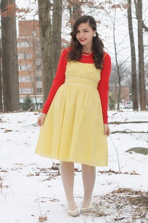 yellow clothing swap dress - white OASAP tights - red Old Navy cardigan