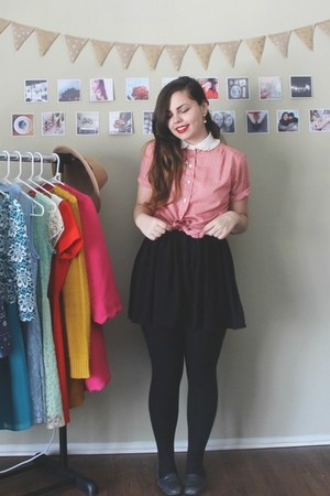 black Aeropostale skirt - ruby red thrifted top - black thrifted flats