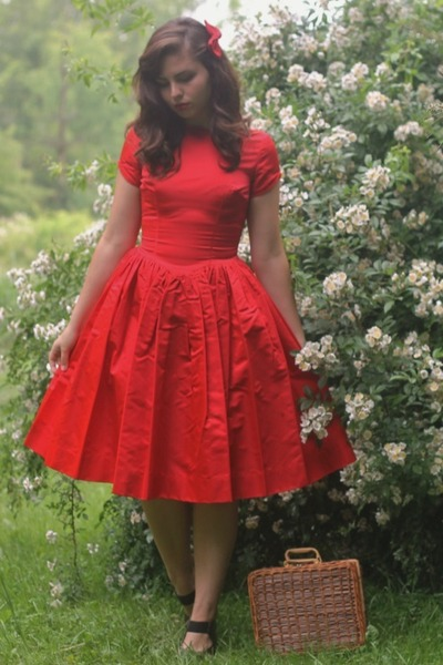 red thrifted dress