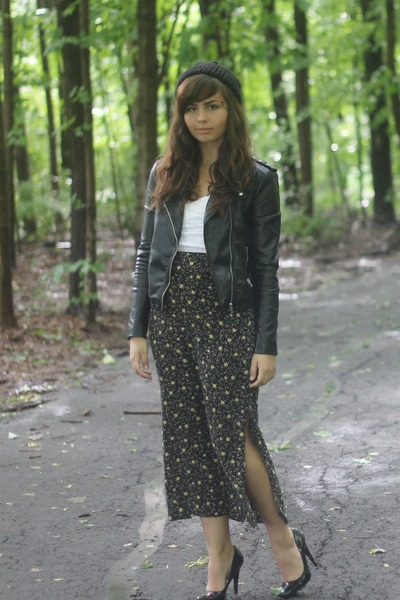 black H&M jacket - army green thrifted skirt