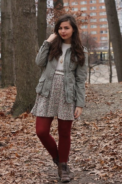 army green thrifted jacket - dark brown pink and pepper boots