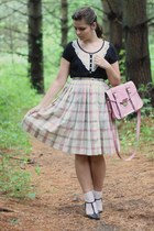 black Forever21 shirt - light pink Platos Closet bag - beige thrifted skirt