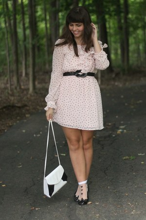 light pink modcloth dress - white thrifted purse - black Jcpenys flats