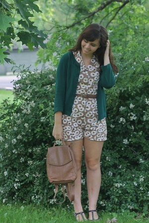 camel thrifted romper - dark green thrifted cardigan
