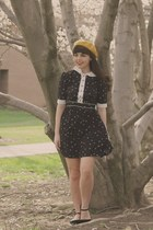 mustard Target hat - black eShakti dress