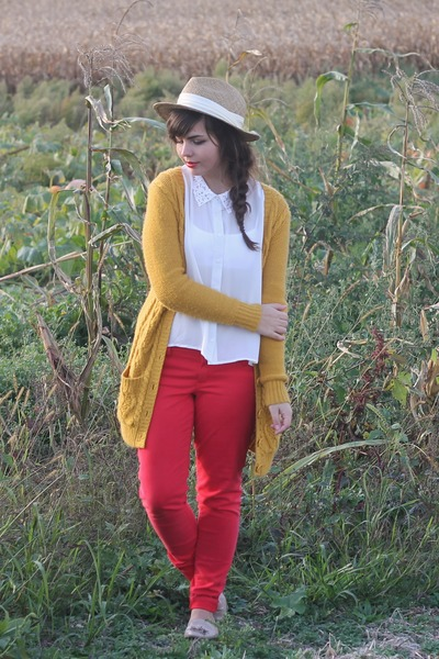 mustard Forever21 cardigan - red American Eagle jeans - white Forever21 blouse