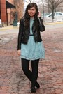 Light-blue-forever21-dress-black-h-m-jacket