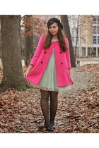 hot pink OASAP coat - aquamarine delias dress - black OASAP tights
