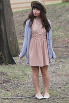 light pink Fleet Collection dress - camel thrifted hat - silver kohls cardigan