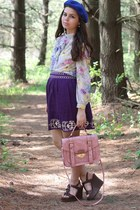 bubble gum Platos Closet bag - blue Forever21 hat - deep purple Forever21 skirt