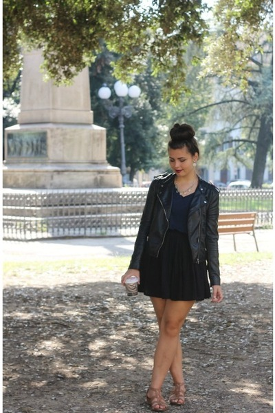 black H&M jacket - navy H&M shirt - black Aeropostale skirt