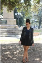 black H&M jacket - navy H&M shirt - black Aeropostale skirt