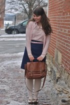 navy thrifted skirt - light pink Forever21 shirt - brown thrifted heels