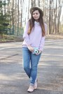 Blue-aeropostale-jeans-tan-thrifted-hat-periwinkle-lulus-sweater
