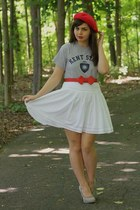 red Target hat - white thrifted skirt - silver Forever21 heels