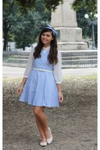 white Forever21 blouse - sky blue OASAP dress - cream H&M flats