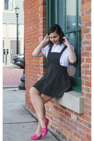 black Forever 21 dress - hot pink vegan leather Loly in the Sky flats