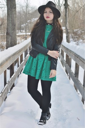 green OASAP dress - black OASAP hat - black H&M jacket
