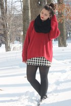 ruby red thrifted sweater - black thrifted skirt
