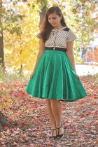 green thrifted vintage skirt - white thrifted dress - black thrifted heels