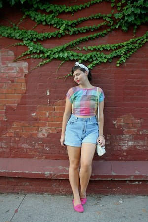 bubble gum thrifted vintage top - light blue thrifted shorts