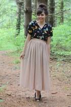 beige thrifted skirt - black thrifted romper