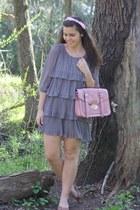 silver modcloth dress - light pink Platos Closet purse - tan thrifted flats
