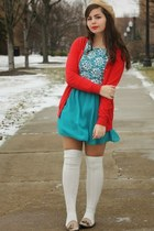 tan American Apparel hat - turquoise blue modcloth dress - red Old Navy sweater