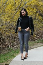 black H&M jacket - heather gray Aeropostale pants - black J Crew heels