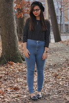 black American Apparel hat - sky blue Forever21 pants - black thrifted loafers