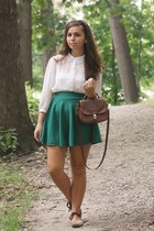 dark green OASAP skirt - brown thrifted purse - white Forever21 blouse