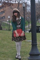 ruby red OASAP bag - tan American Apparel hat - forest green thrifted cardigan