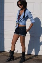 Buffalo shirt - DIY shorts - Forever 21 boots