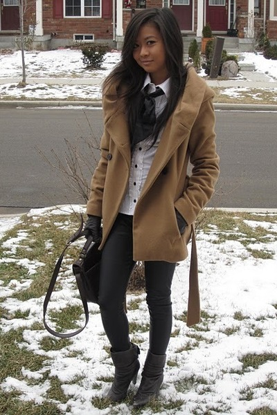 Zara coat - H&M blouse - Rampage leggings - Jessica Simpson boots - Guess bag