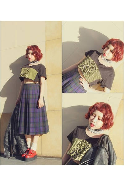 Demonia shoes - harley davison jacket - vintage skirt - no brand t-shirt