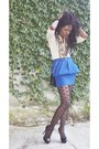 Blue-zara-skirt-beige-h-m-shirt-black-asos-tights